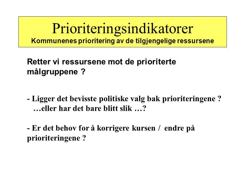 Prioriteringsindikatorer Kommunenes prioritering av de tilgjengelige ressursene Retter vi ressursene mot de prioriterte målgruppene ? - Ligger det bev