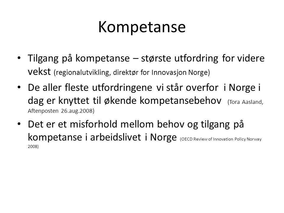 Kompetanse • Tilgang på kompetanse – største utfordring for videre vekst (regionalutvikling, direktør for Innovasjon Norge) • De aller fleste utfordri