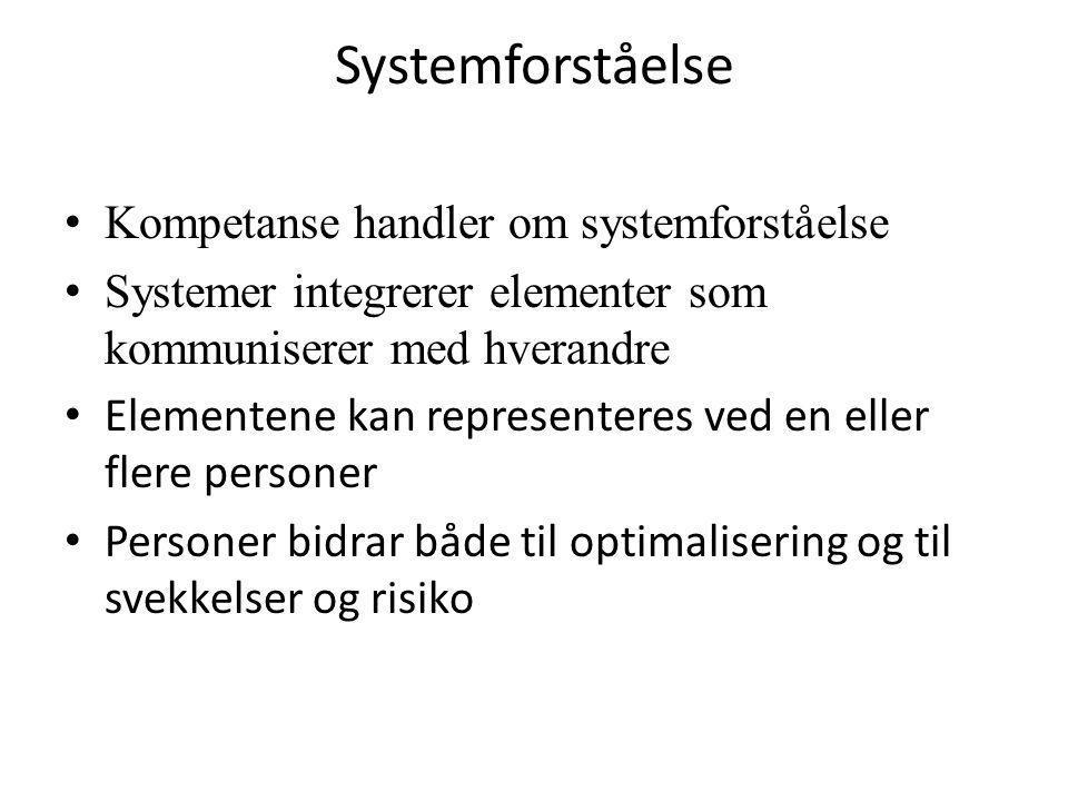 Systemforståelse • Kompetanse handler om systemforståelse • Systemer integrerer elementer som kommuniserer med hverandre • Elementene kan representere