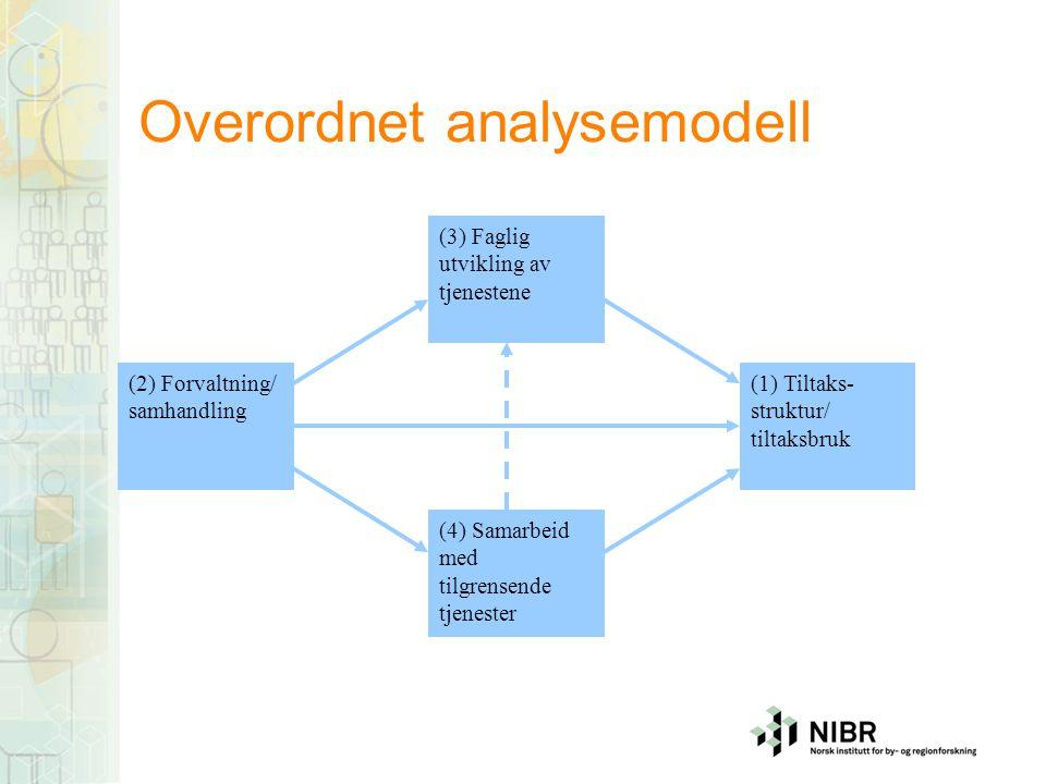 Overordnet analysemodell (1) Tiltaks- struktur/ tiltaksbruk (2) Forvaltning/ samhandling (3) Faglig utvikling av tjenestene (4) Samarbeid med tilgrens