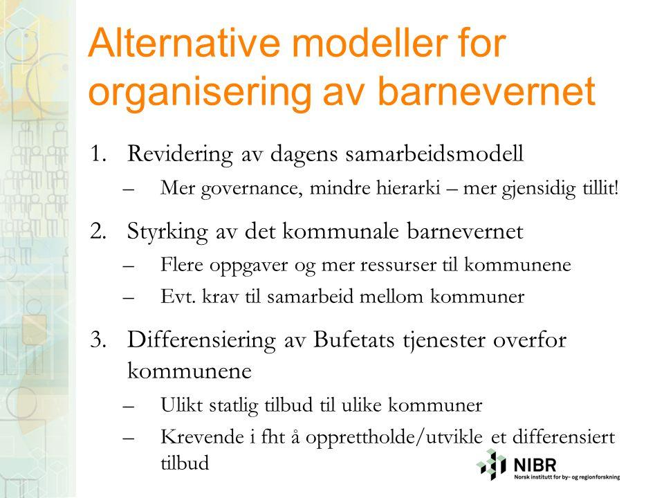 Alternative modeller for organisering av barnevernet 1.Revidering av dagens samarbeidsmodell –Mer governance, mindre hierarki – mer gjensidig tillit!