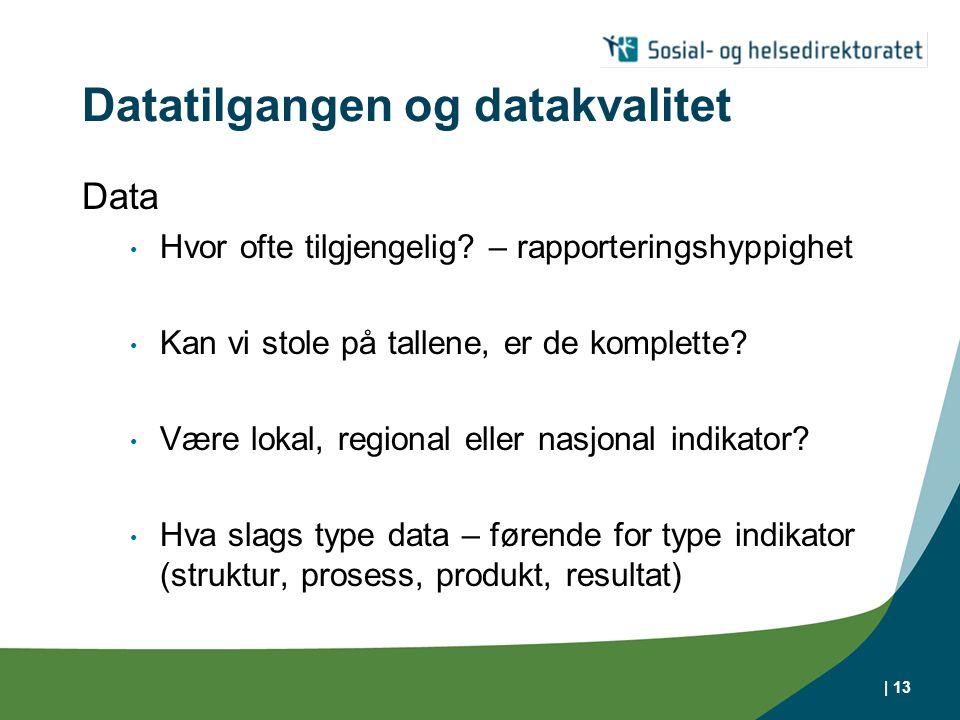 | 13 Datatilgangen og datakvalitet Data • Hvor ofte tilgjengelig? – rapporteringshyppighet • Kan vi stole på tallene, er de komplette? • Være lokal, r
