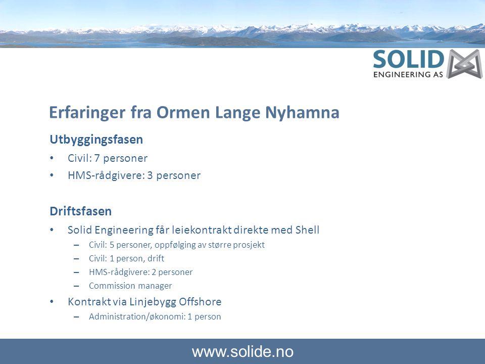 www.solide.no Erfaringer fra Ormen Lange Nyhamna Utbyggingsfasen • Civil: 7 personer • HMS-rådgivere: 3 personer Driftsfasen • Solid Engineering får l