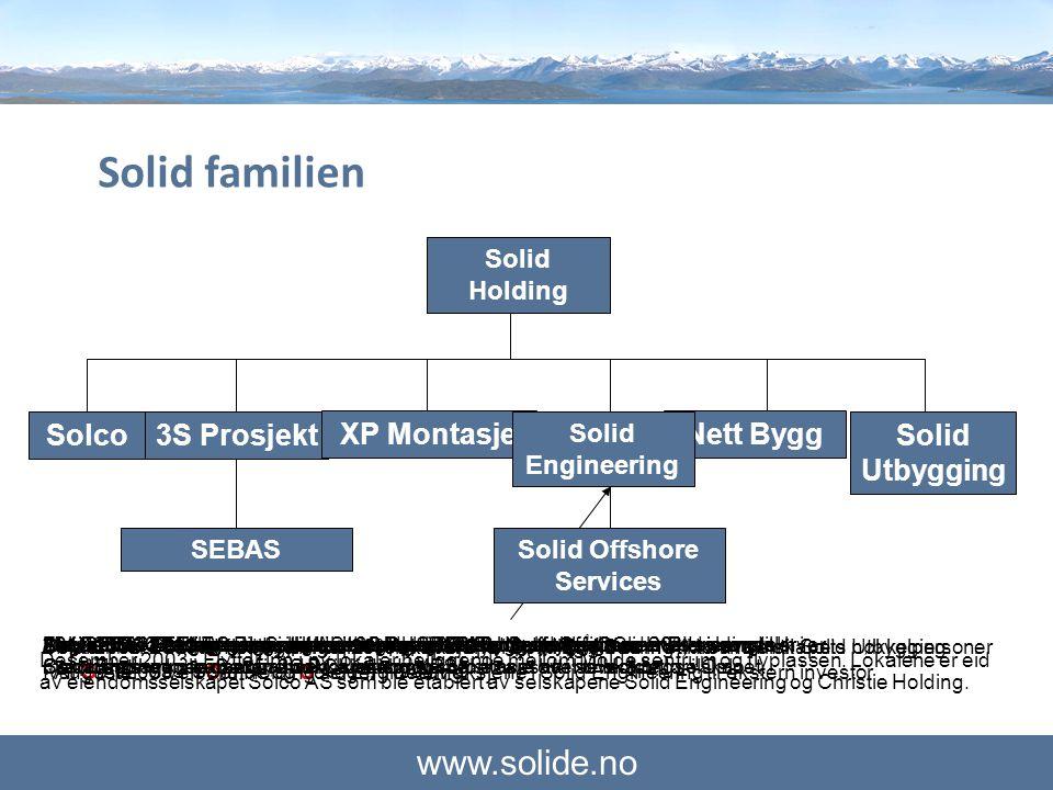 www.solide.no Solid Engineering Solco3S ProsjektXP Montasje Solid Holding Nett ByggSolid Utbygging Juni 2002 - Solid Engineering AS ble etablert av fe