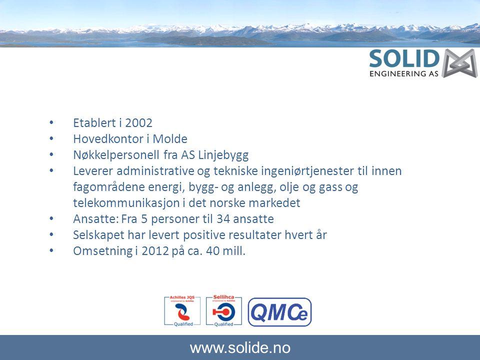 www.solide.no Tjenester • Prosjektstyring • Byggeledelse • Byggekontroll • Prosjektplanlegging • HMS- og kvalitetstjenester • Kalkulasjon og anbudsutarbeidelse • Prosjektutvikling • Forretningsutvikling • Kurs og opplæringstjenester • Granskning