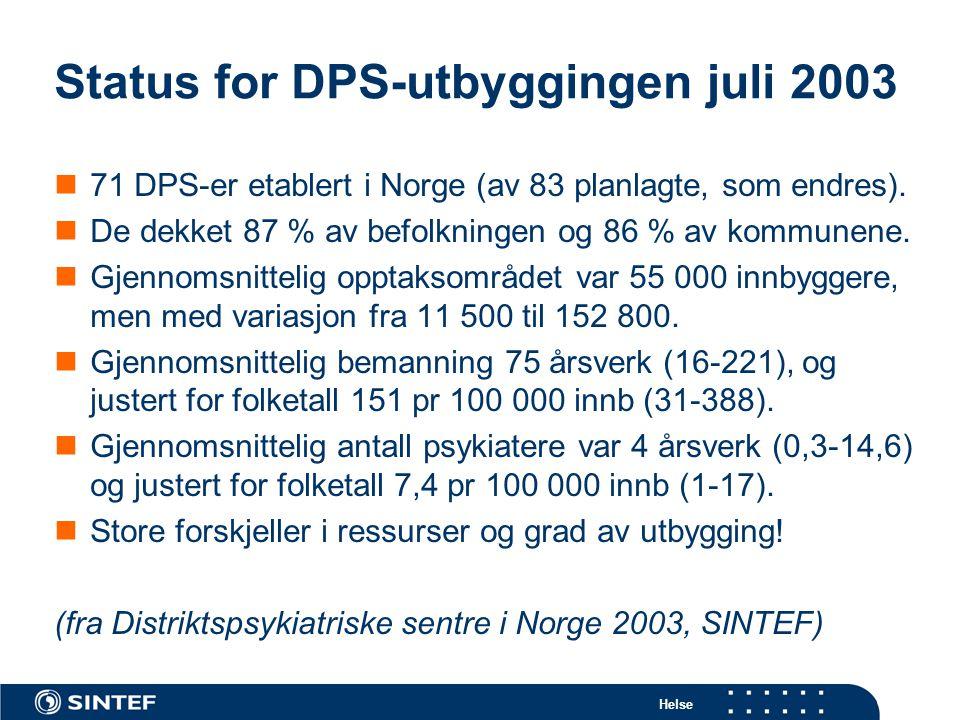Helse Status for DPS-utbyggingen juli 2003  71 DPS-er etablert i Norge (av 83 planlagte, som endres).  De dekket 87 % av befolkningen og 86 % av kom