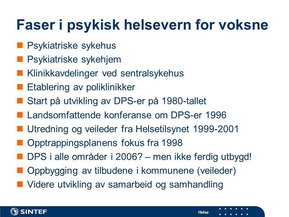 Helse Ressursfordeling (årsverk) innen psykisk helsevern for voksne 2003 Sykehus 58 % DPS-avd 23 % Poliklinisk 14 %Sykehjem 5 % Kide: Samdata psykisk helsvern 2003