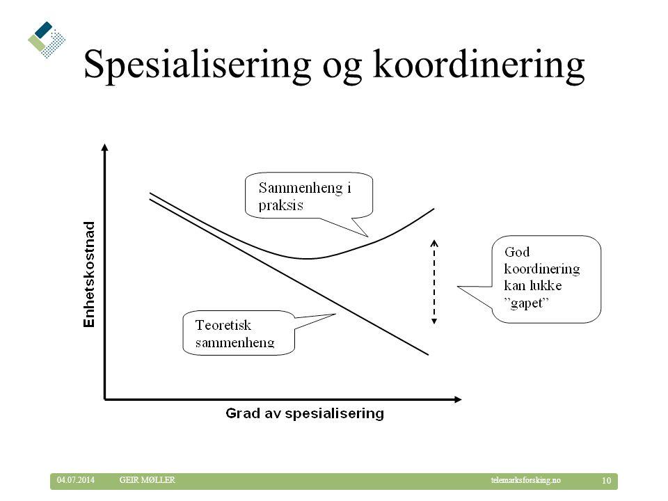 © Telemarksforsking telemarksforsking.no04.07.2014 10 GEIR MØLLER Spesialisering og koordinering
