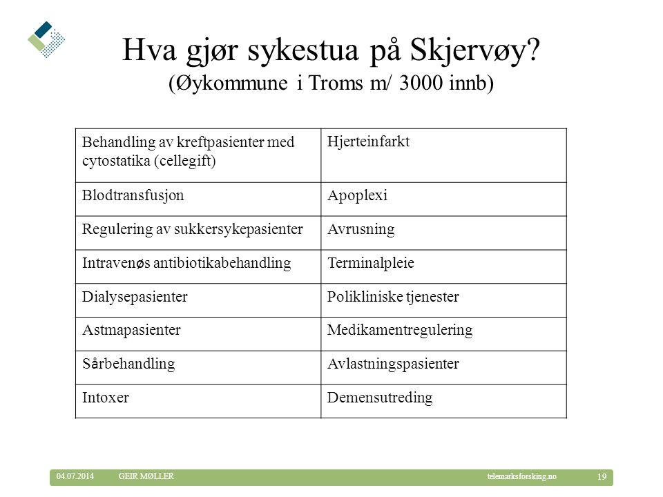 © Telemarksforsking telemarksforsking.no04.07.2014 19 GEIR MØLLER Hva gjør sykestua på Skjervøy.