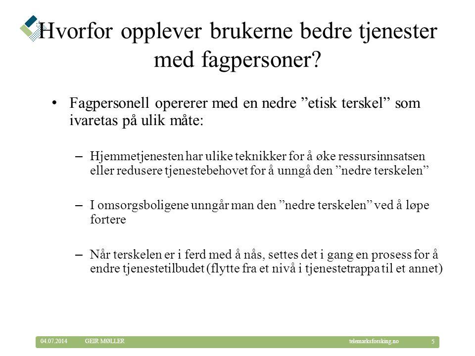 © Telemarksforsking telemarksforsking.no04.07.2014 16 GEIR MØLLER Betydning av kompetanse for sykehusinnleggelser (2) Avhengig variabel: Sykehusinnleggelser