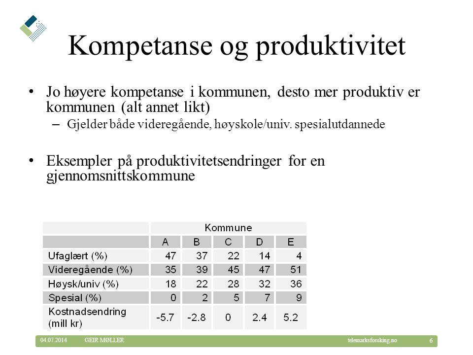 © Telemarksforsking telemarksforsking.no04.07.2014 27 GEIR MØLLER Sahlen m.fl.