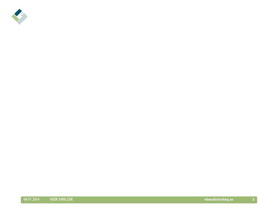 © Telemarksforsking telemarksforsking.no04.07.2014 29 GEIR MØLLER Frydenberg rehabiliteringssenter i Modum •Egen rehabiliteringsenhet –18 plasser/enerom –Døgn- og dagtilbud –Egen inntaksmyndighet •Bemanning: 26,3 stillinger –100 % ergoterapeut, 100% fysioterapeut, 20% legestilling –Mye spesialkompetanse blant sykepleiere •Brukere –Hovedtyngden er eldre (ikke barn) –Må være i stand til å ta imot instruksjon •Metodikk –Tverrfaglig kartlegging og arbeidsmetodikk –Brukermedvirkning ( Bruker eier tilbudet ) –Vektlegging av læring og mestring –Rullerende rehabilitering, hjemmebesøk –Fysisk aktivitet, sosial aktivitet, ernæring...