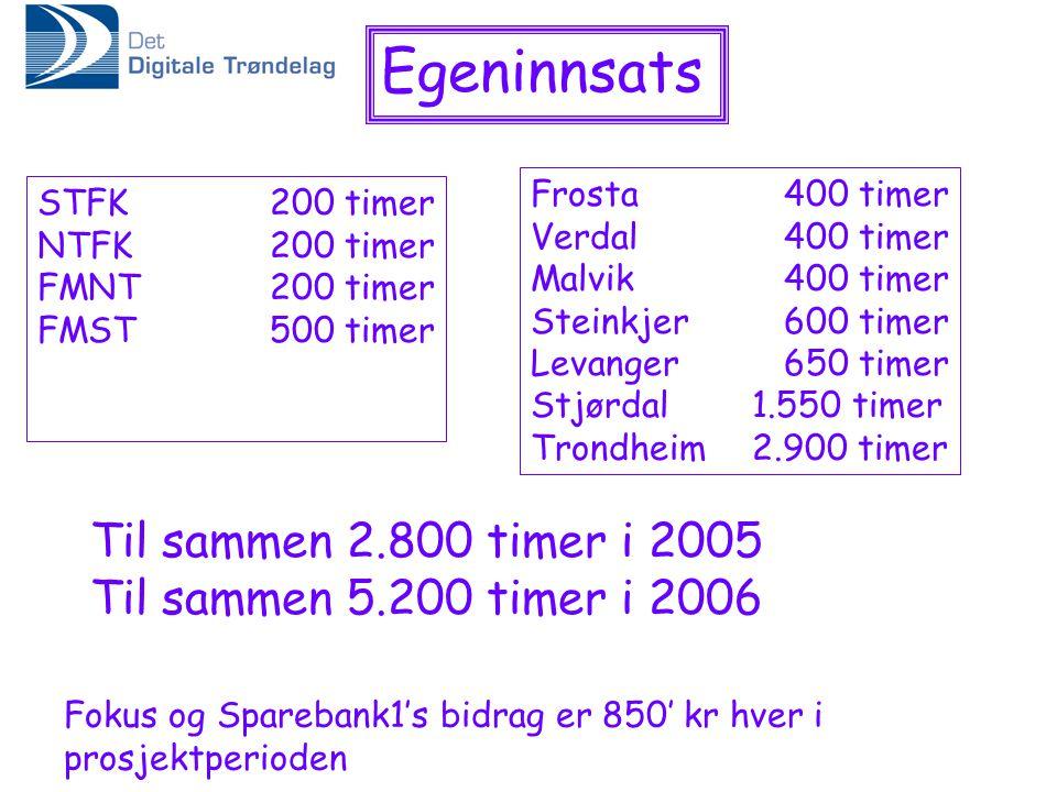 Egeninnsats STFK 200 timer NTFK 200 timer FMNT 200 timer FMST 500 timer Frosta 400 timer Verdal 400 timer Malvik 400 timer Steinkjer 600 timer Levange