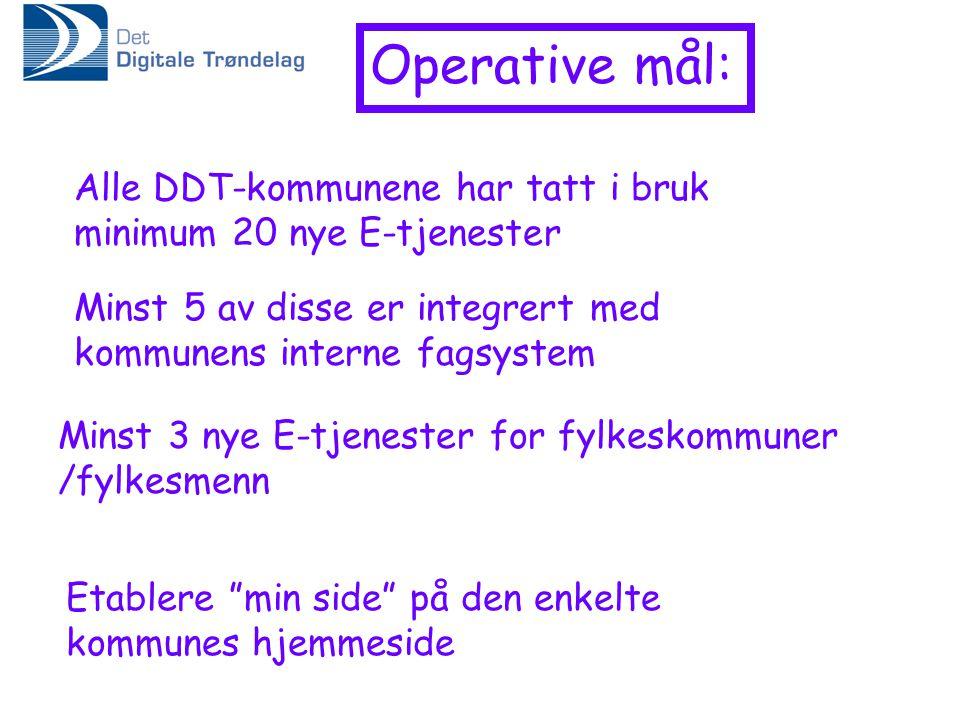 Operative mål: Alle DDT-kommunene har tatt i bruk minimum 20 nye E-tjenester Minst 5 av disse er integrert med kommunens interne fagsystem Etablere min side på den enkelte kommunes hjemmeside Minst 3 nye E-tjenester for fylkeskommuner /fylkesmenn