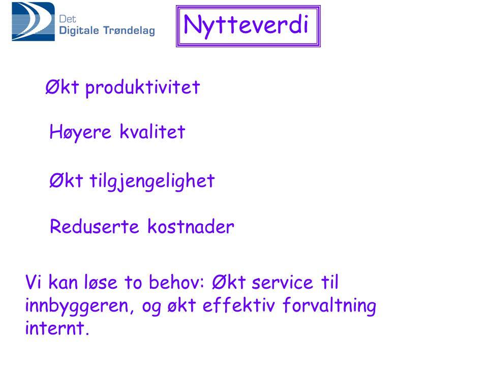 Nytteverdi Økt produktivitet Høyere kvalitet Økt tilgjengelighet Reduserte kostnader Vi kan løse to behov: Økt service til innbyggeren, og økt effektiv forvaltning internt.