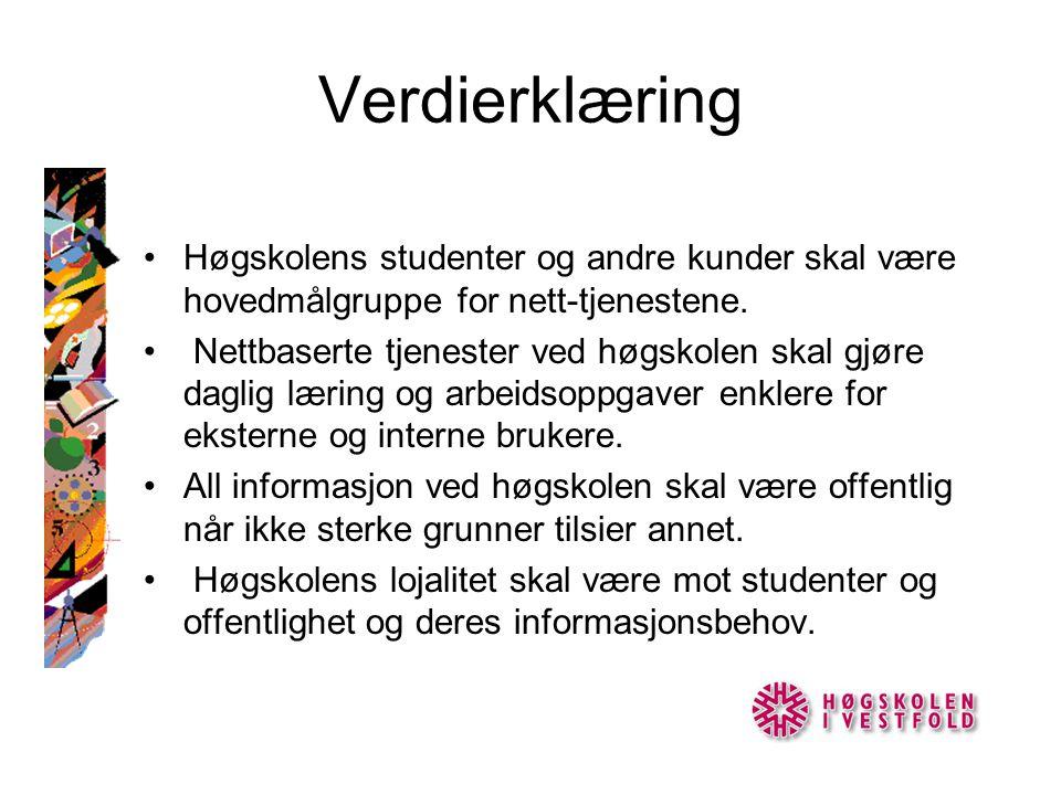 Verdierklæring •Høgskolens studenter og andre kunder skal være hovedmålgruppe for nett-tjenestene.