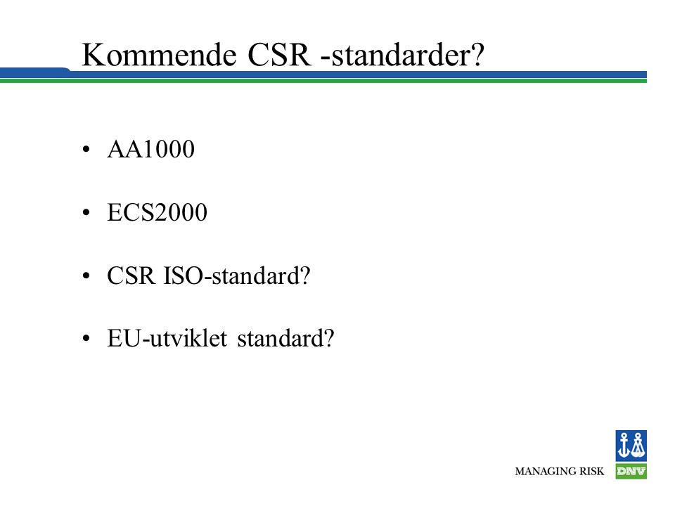 Kommende CSR -standarder •AA1000 •ECS2000 •CSR ISO-standard •EU-utviklet standard