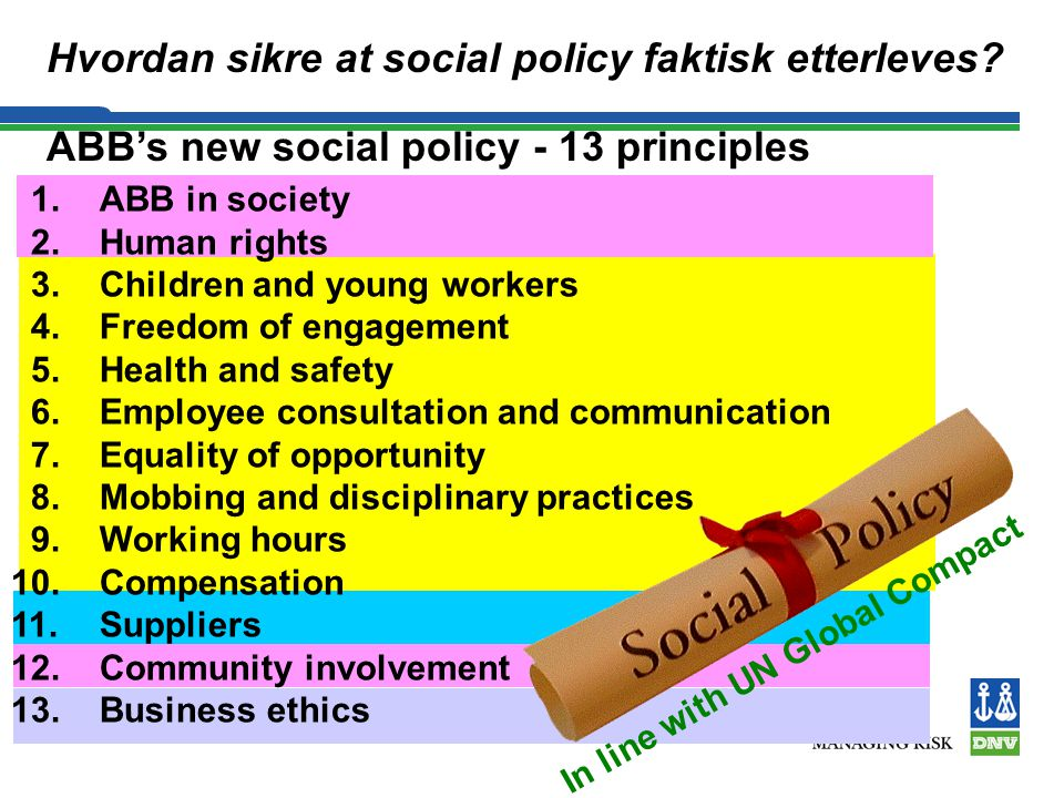ABB's new social policy - 13 principles 1. ABB in society 2. Human rights 3. Children and young workers 4.Freedom of engagement 5. Health and safety 6