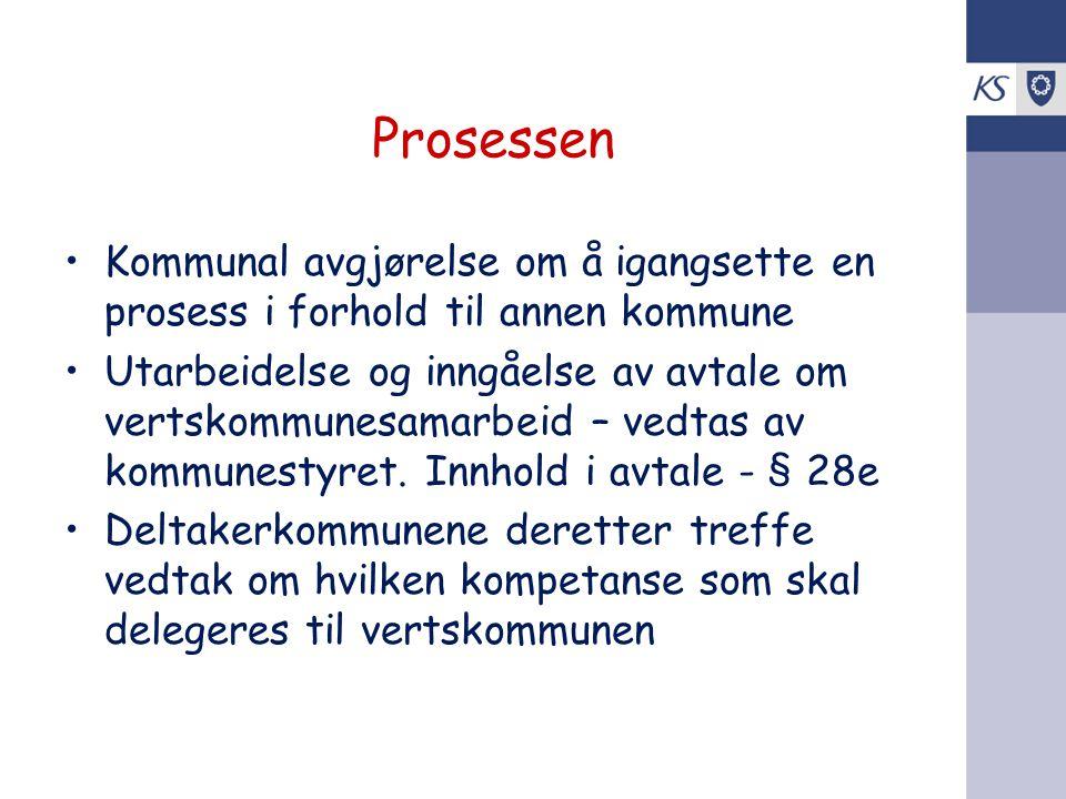 Prosessen •Kommunal avgjørelse om å igangsette en prosess i forhold til annen kommune •Utarbeidelse og inngåelse av avtale om vertskommunesamarbeid –