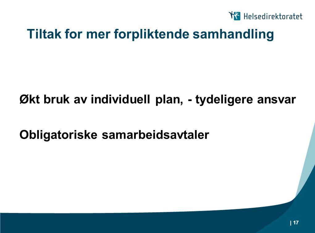 Tiltak for mer forpliktende samhandling Økt bruk av individuell plan, - tydeligere ansvar Obligatoriske samarbeidsavtaler | 17