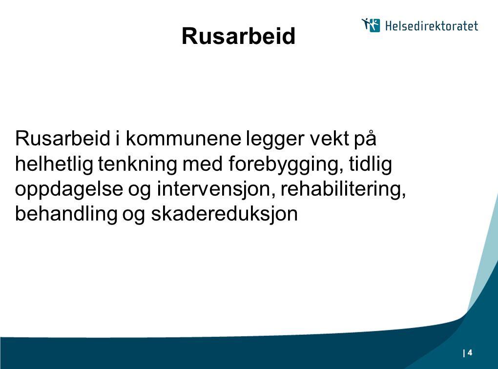 | 4 Rusarbeid Rusarbeid i kommunene legger vekt på helhetlig tenkning med forebygging, tidlig oppdagelse og intervensjon, rehabilitering, behandling o