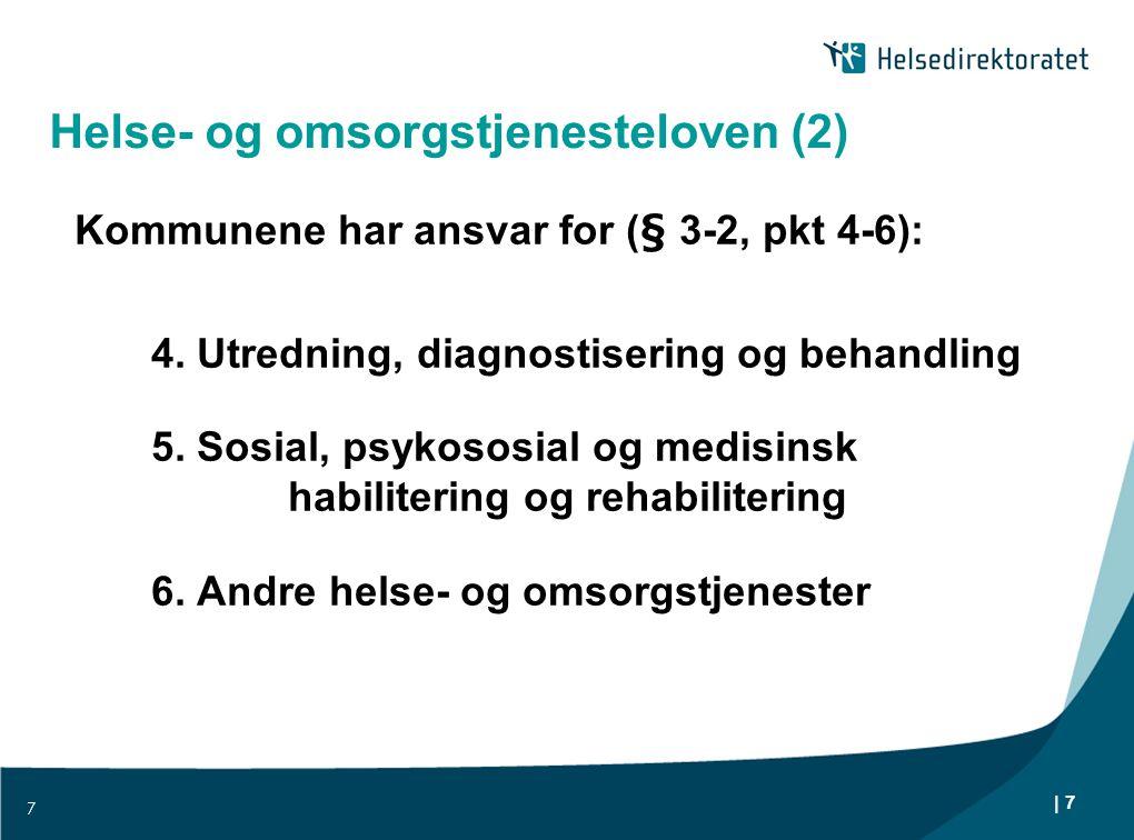 | 7 Helse- og omsorgstjenesteloven (2) Kommunene har ansvar for (§ 3-2, pkt 4-6): 4. Utredning, diagnostisering og behandling 5. Sosial, psykososial o