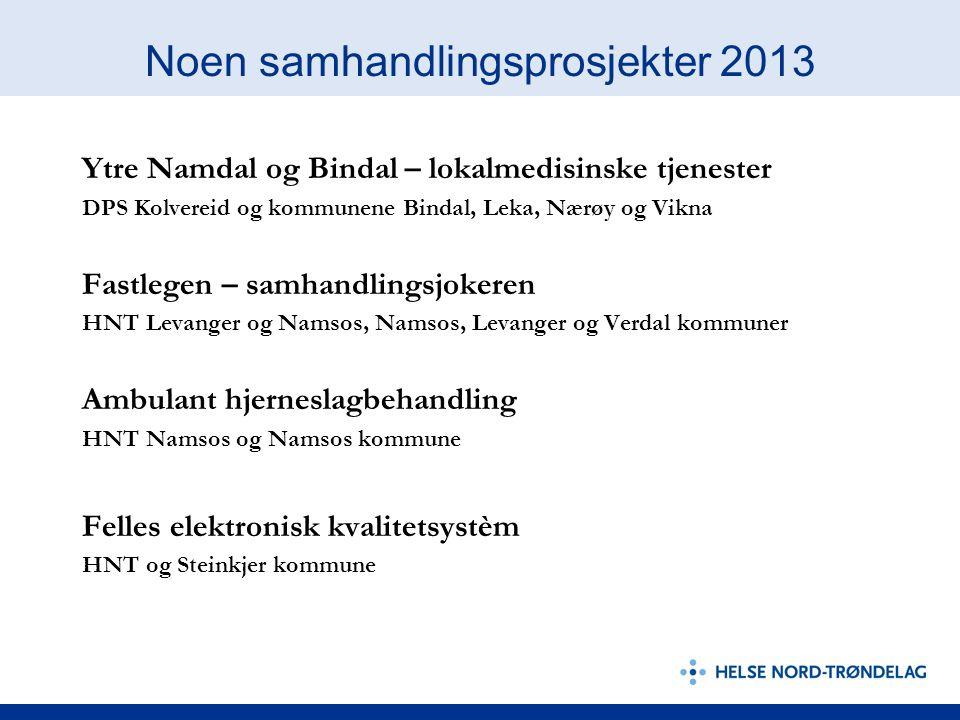 Noen samhandlingsprosjekter 2013 Ytre Namdal og Bindal – lokalmedisinske tjenester DPS Kolvereid og kommunene Bindal, Leka, Nærøy og Vikna Fastlegen –