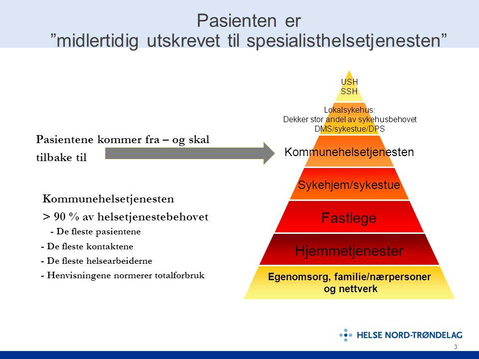 """3 Pasienten er """"midlertidig utskrevet til spesialisthelsetjenesten"""" USH SSH Lokalsykehus: Dekker stor andel av sykehusbehovet DMS/sykestue/DPS Kommune"""