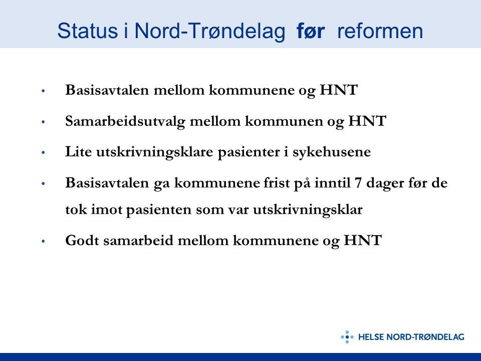 Status i Nord-Trøndelag før reformen • Basisavtalen mellom kommunene og HNT • Samarbeidsutvalg mellom kommunen og HNT • Lite utskrivningsklare pasient