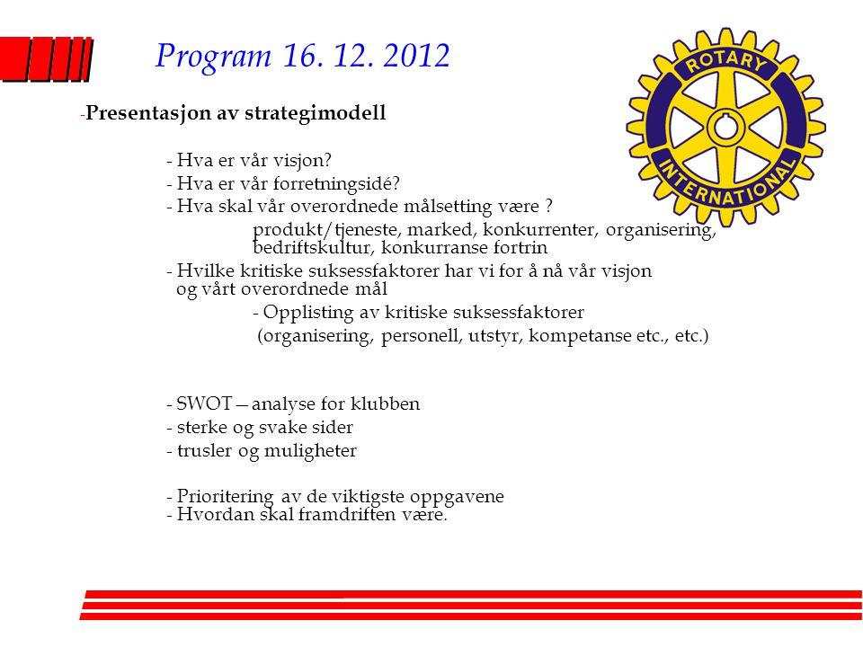 Program 16.12. 2012 - Presentasjon av strategimodell - Hva er vår visjon.