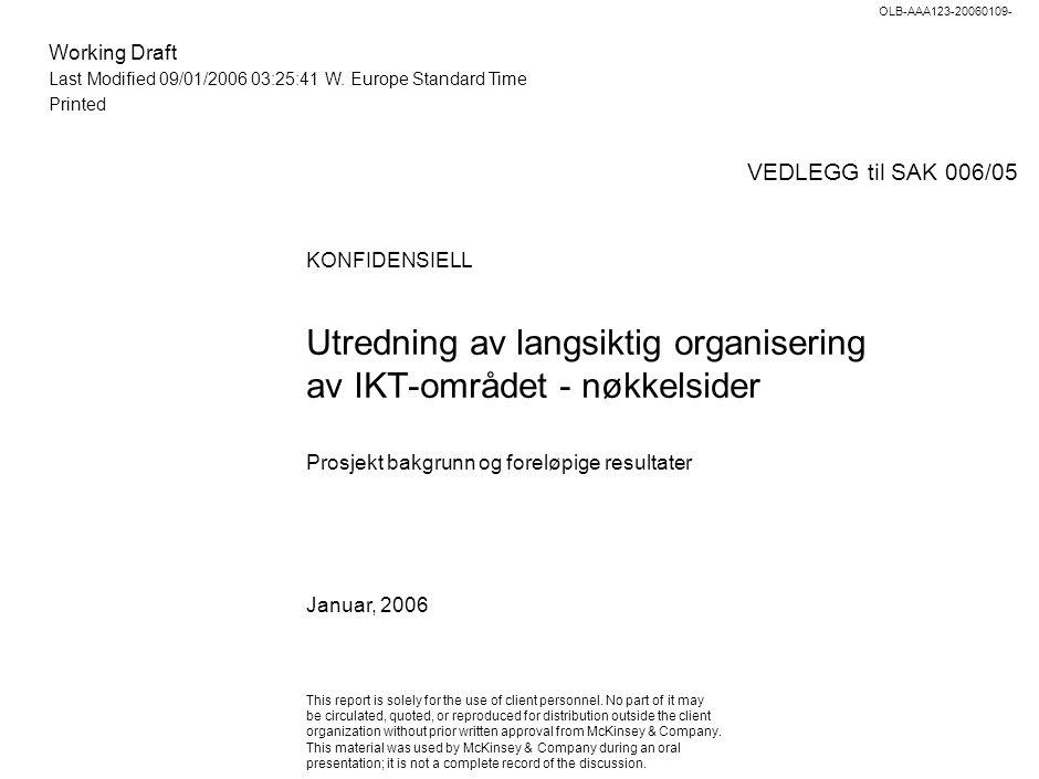 Working Draft Last Modified 09/01/2006 03:25:41 W. Europe Standard Time Printed OLB-AAA123-20060109- KONFIDENSIELL Utredning av langsiktig organiserin