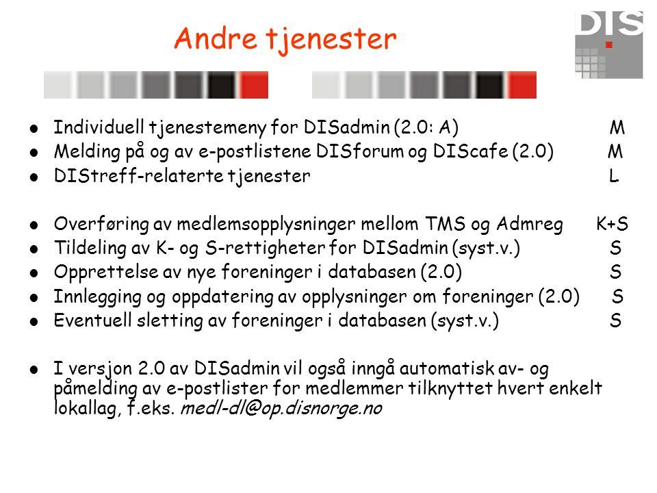 Andre tjenester  Individuell tjenestemeny for DISadmin (2.0: A) M  Melding på og av e-postlistene DISforum og DIScafe (2.0) M  DIStreff-relaterte t