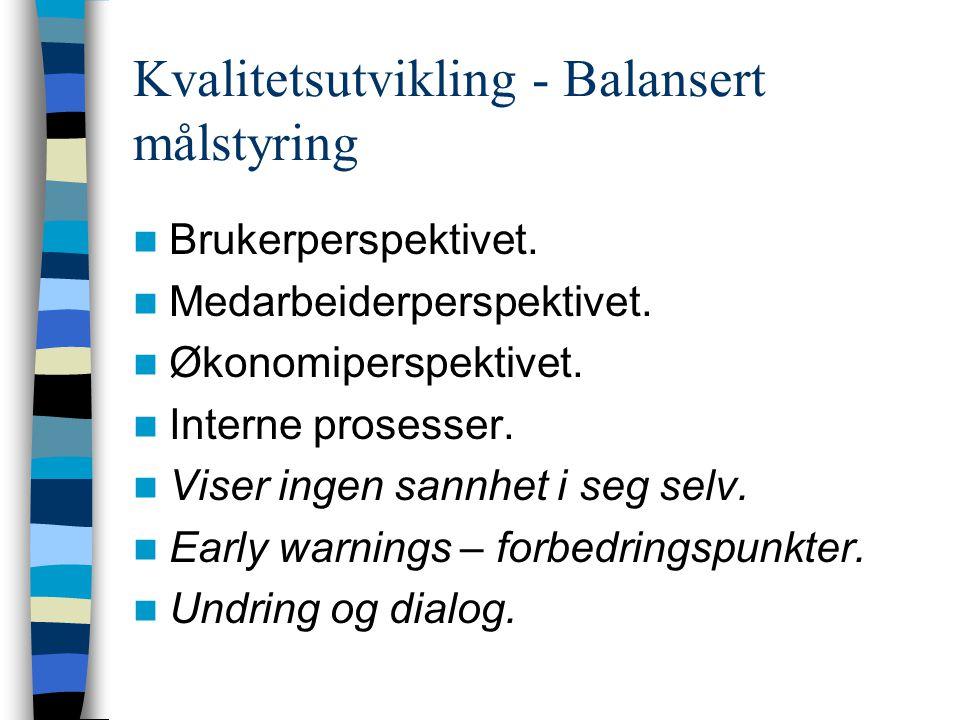 Kvalitetsutvikling - Balansert målstyring  Brukerperspektivet.  Medarbeiderperspektivet.  Økonomiperspektivet.  Interne prosesser.  Viser ingen s