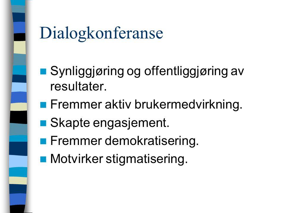 Dialogkonferanse  Synliggjøring og offentliggjøring av resultater.  Fremmer aktiv brukermedvirkning.  Skapte engasjement.  Fremmer demokratisering