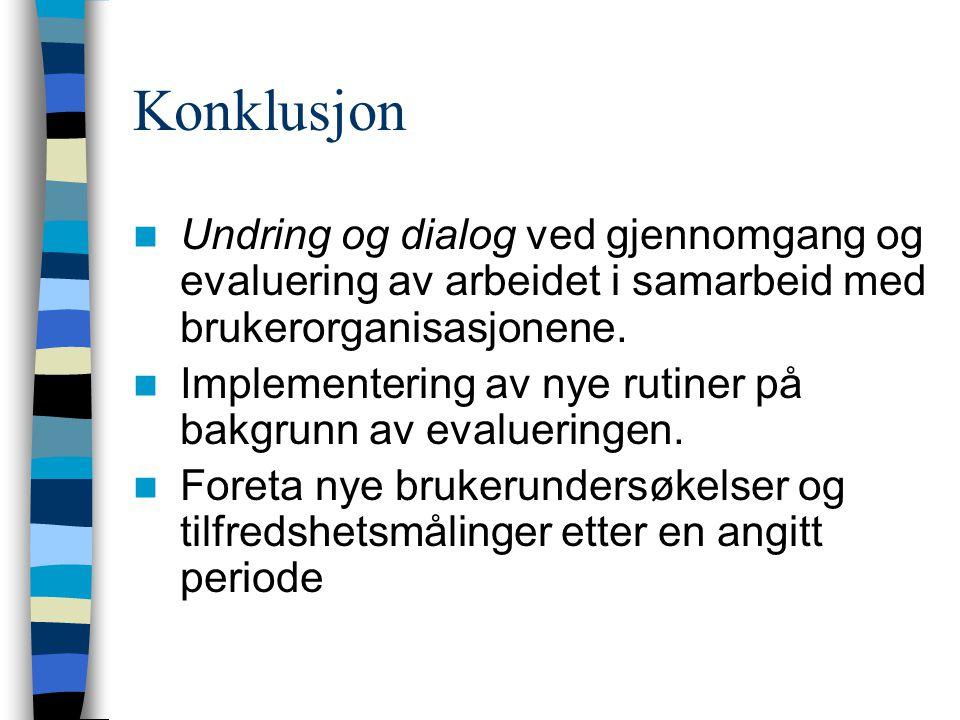 Konklusjon  Undring og dialog ved gjennomgang og evaluering av arbeidet i samarbeid med brukerorganisasjonene.  Implementering av nye rutiner på bak