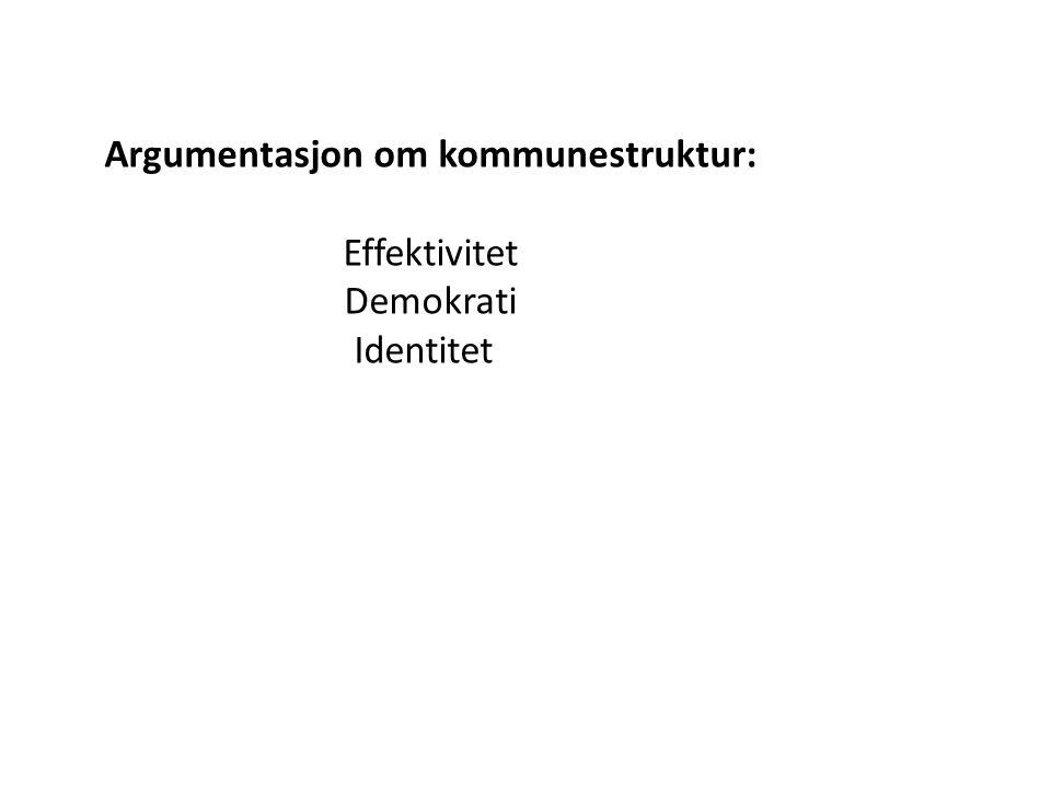 Argumentasjon om kommunestruktur: Effektivitet Demokrati Identitet Er det grunnlag for brei strukturreform.