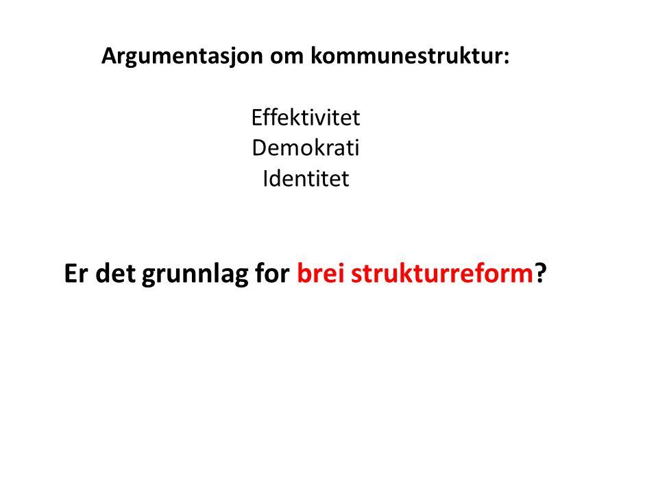 Argumentasjon om kommunestruktur: Effektivitet Demokrati Identitet Er det grunnlag for brei strukturreform