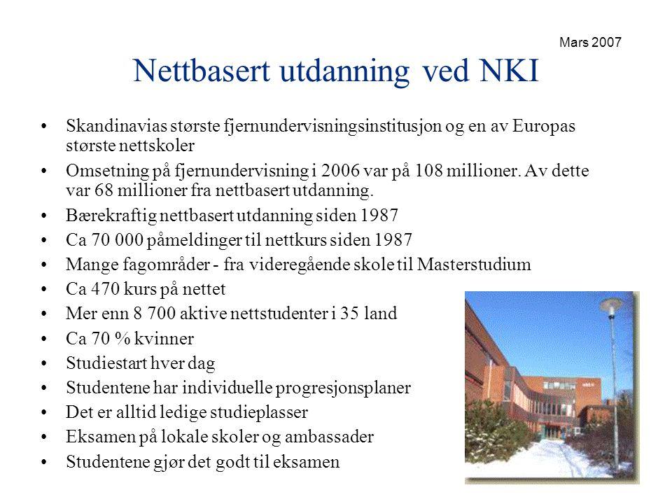 Nettbasert utdanning ved NKI •Skandinavias største fjernundervisningsinstitusjon og en av Europas største nettskoler •Omsetning på fjernundervisning i 2006 var på 108 millioner.