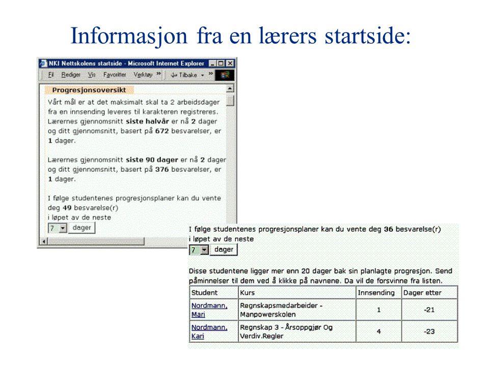 Informasjon fra en lærers startside: