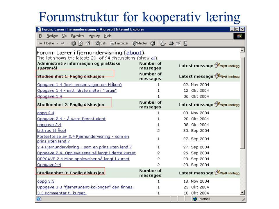 Forumstruktur for kooperativ læring
