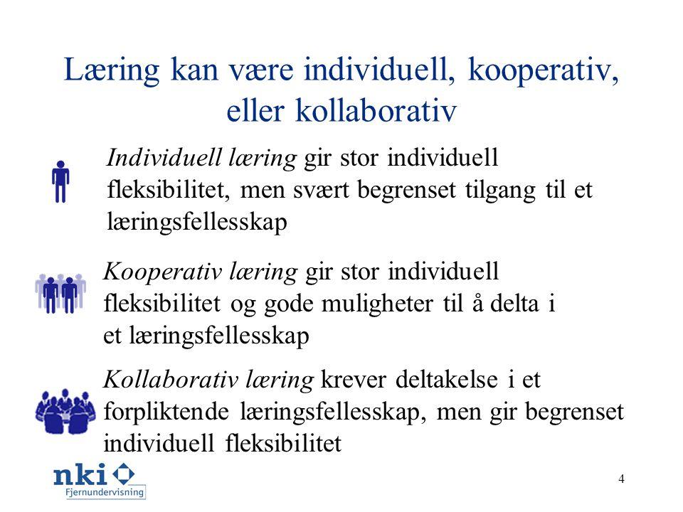 4 Læring kan være individuell, kooperativ, eller kollaborativ Individuell læring gir stor individuell fleksibilitet, men svært begrenset tilgang til et læringsfellesskap Kollaborativ læring krever deltakelse i et forpliktende læringsfellesskap, men gir begrenset individuell fleksibilitet Kooperativ læring gir stor individuell fleksibilitet og gode muligheter til å delta i et læringsfellesskap