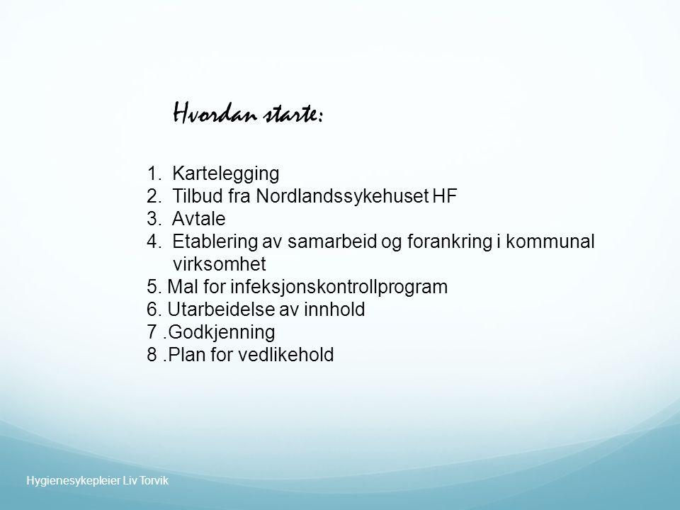 1.Kartelegging 2.Tilbud fra Nordlandssykehuset HF 3.Avtale 4.Etablering av samarbeid og forankring i kommunal virksomhet 5.