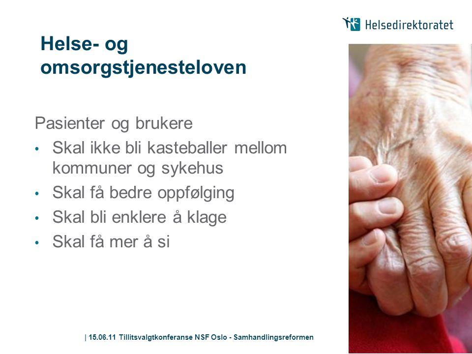| 15.06.11 Tillitsvalgtkonferanse NSF Oslo - Samhandlingsreformen Helse- og omsorgstjenesteloven Pasienter og brukere • Skal ikke bli kasteballer mell