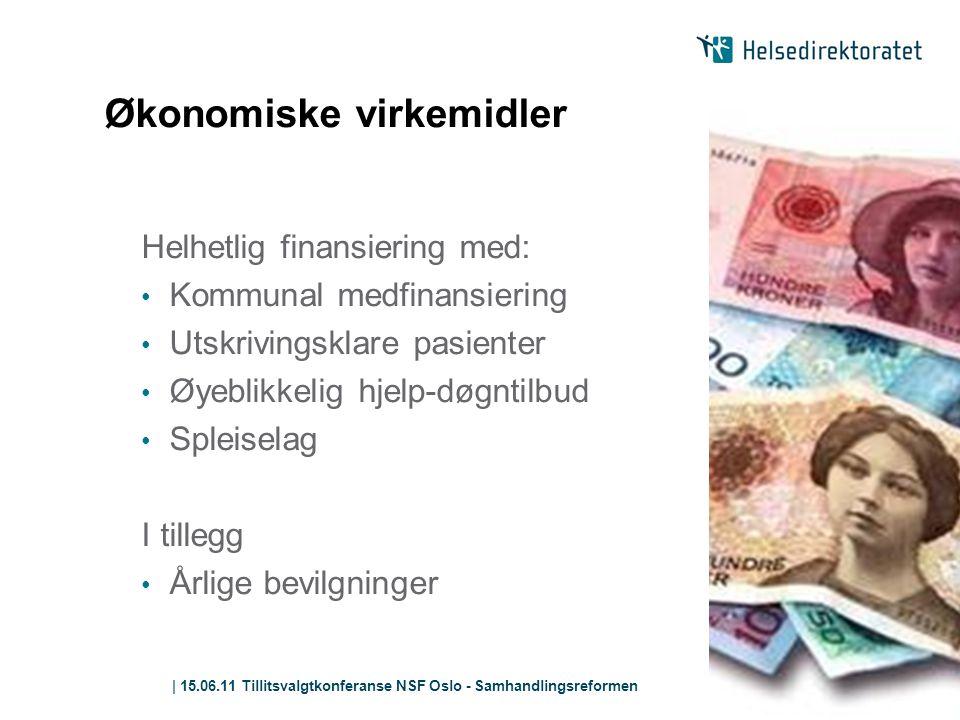 | 15.06.11 Tillitsvalgtkonferanse NSF Oslo - Samhandlingsreformen Økonomiske virkemidler Helhetlig finansiering med: • Kommunal medfinansiering • Utsk