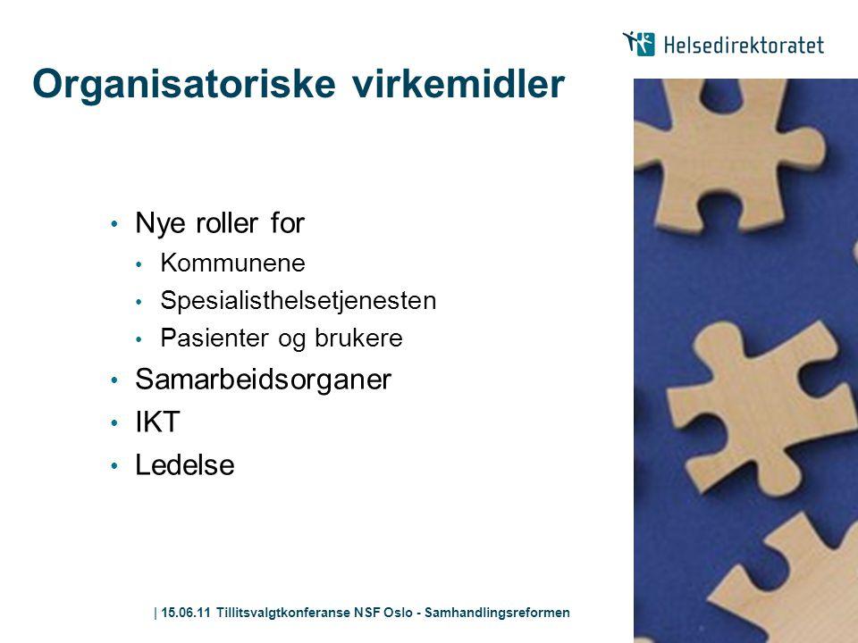 | 15.06.11 Tillitsvalgtkonferanse NSF Oslo - Samhandlingsreformen Organisatoriske virkemidler • Nye roller for • Kommunene • Spesialisthelsetjenesten