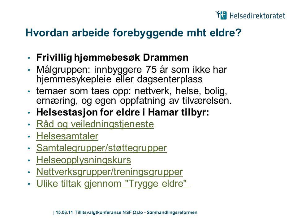 | 15.06.11 Tillitsvalgtkonferanse NSF Oslo - Samhandlingsreformen Hvordan arbeide forebyggende mht eldre? • Frivillig hjemmebesøk Drammen • Målgruppen