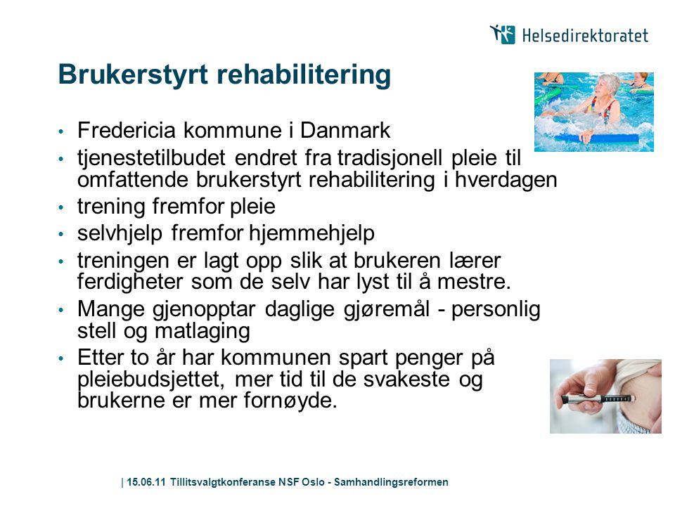 | 15.06.11 Tillitsvalgtkonferanse NSF Oslo - Samhandlingsreformen Brukerstyrt rehabilitering • Fredericia kommune i Danmark • tjenestetilbudet endret