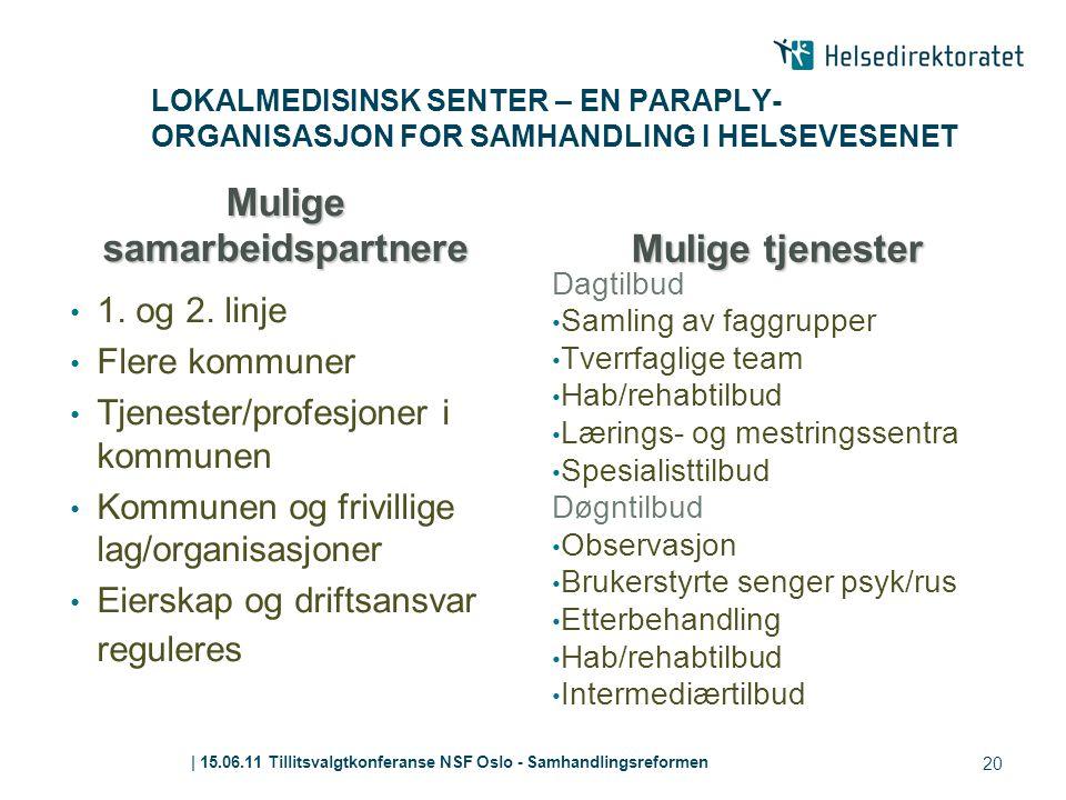 | 15.06.11 Tillitsvalgtkonferanse NSF Oslo - Samhandlingsreformen LOKALMEDISINSK SENTER – EN PARAPLY- ORGANISASJON FOR SAMHANDLING I HELSEVESENET Muli