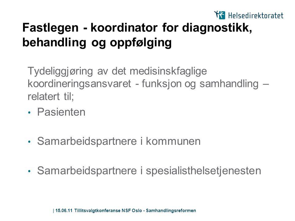 | 15.06.11 Tillitsvalgtkonferanse NSF Oslo - Samhandlingsreformen Fastlegen - koordinator for diagnostikk, behandling og oppfølging Tydeliggjøring av