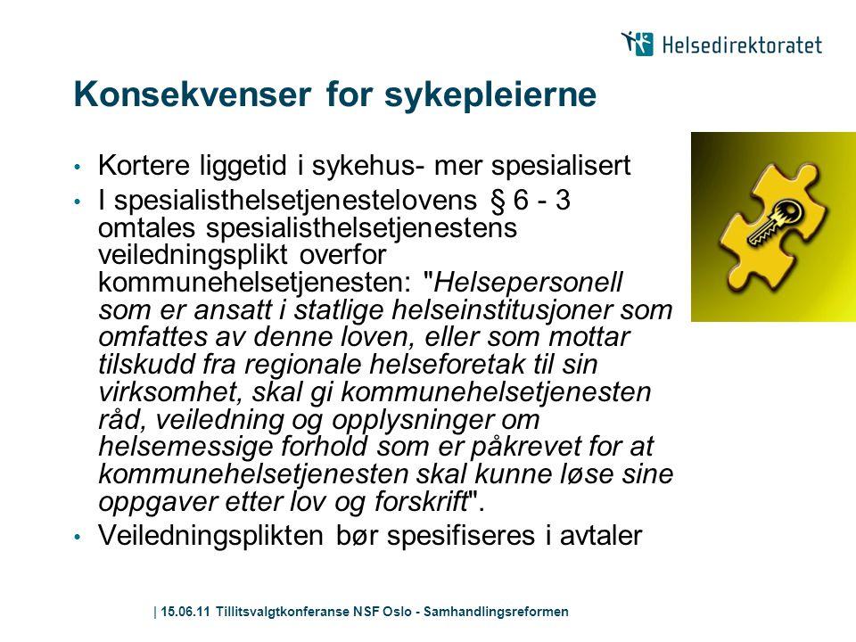 | 15.06.11 Tillitsvalgtkonferanse NSF Oslo - Samhandlingsreformen Konsekvenser for sykepleierne • Kortere liggetid i sykehus- mer spesialisert • I spe